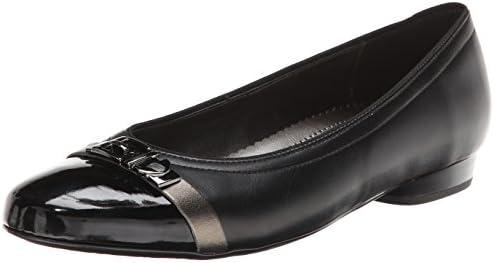 ara Women's Perla Ballet Flat, Lead LeatherBlack Patent Toe