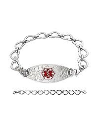 Divoti Custom Engraved Lovely Filigree Medical Alert Bracelet -Open Heart-Red