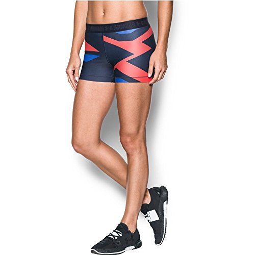 "Under Armour Women's HeatGear Armour 3"" - Engineered, Midnight Navy/Metallic Silver, X-Small"