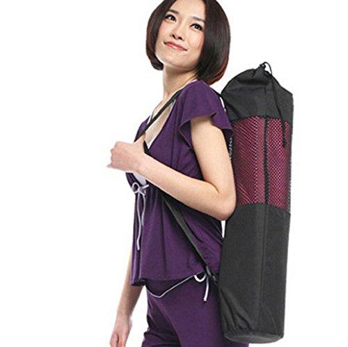 Wrisky Portable Adjustable Strap Yoga Pilates Mat Nylon Bag Carrier Mesh Center Holder