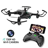 TENKER Drone with Camera, FPV RC Drone with 720P HD Wi-Fi Camera ,Quadcopter Drone for Kids & Beginners - Altitude Hold, Headless Mode, Foldable Arms, One Key take Off/Landing, Black