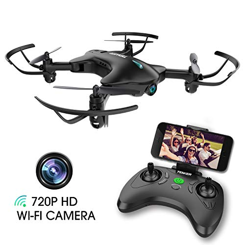 TENKER Drone with Camera, FPV RC Drone with 720P HD Wi-Fi Camera ,Quadcopter Drone for Kids & Beginners – Altitude Hold, Headless Mode, Foldable Arms, One Key take Off/Landing, Black