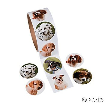 Fun Express Dog Roll Stickers - 100 Stickers - Kid Roll Stickers
