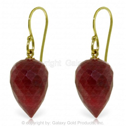 Ruby Briolette Earrings - 14k Yellow Gold Fish Hook Earrings with Natural Pointy Briolette Rubies