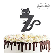 Number 7 Kitty Cat Cake Topper for Happy Seventh 7th Birthday,Baby Shower 7th Wedding Anniversary Party Decorations