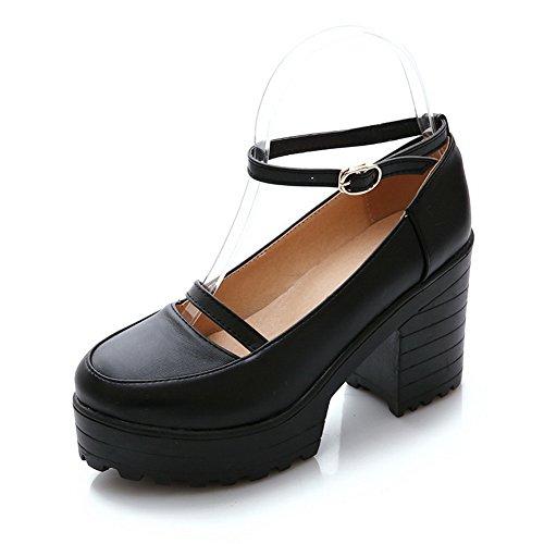 Balamasa Dames Chunky Hakken Gesp Platform Geïmiteerd Lederen Pumps-schoenen Zwart