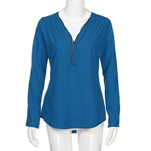 Tops Manches Lache Femmes Casual Longues Bleu T Clair Haut Tefamore Shirt Mode Blouse E6Bqwnpp