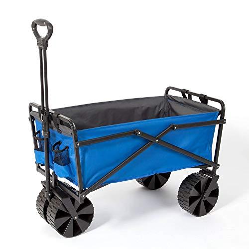Seina Manual 150 Pound Steel Frame Folding Garden Cart Beach Wagon, Blue/Gray
