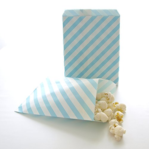 Blue-Paper-Bags-Candy-Treat-Bags-Kids-Birthday-Favors-Striped-Goodie-Bags-Light-Blue-Stripe-Bags-25-Pack
