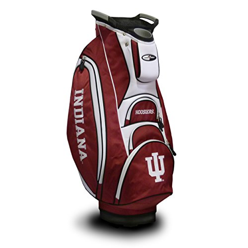 Team Golf NCAA Indiana Hoosiers Victory Golf Cart Bag, 10-way Top with Integrated Dual Handle & External Putter Well, Cooler Pocket, Padded Strap, Umbrella Holder & Removable Rain Hood