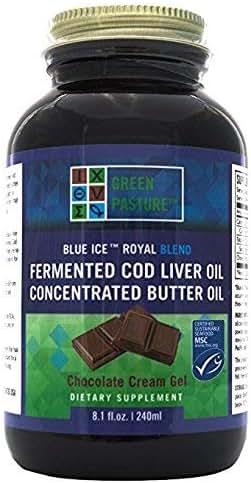 Green Pasture Blue Ice Royal Butter Oil / Fermented Cod Liver Oil Blend - CHOCOLATE CREAM GEL - 8.1 fl.oz