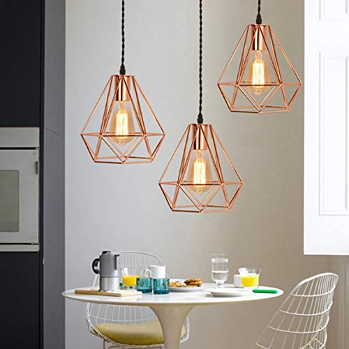 NANGE Modern Chandelier,Personality Plating Rose Gold Pendant Lights,Kitchen Island Table Dining Room Bedroom Entryway Hanging Lamp,E27(Without Light Source) (Color : AC 110V, Size : Gold) by NANGE (Image #5)
