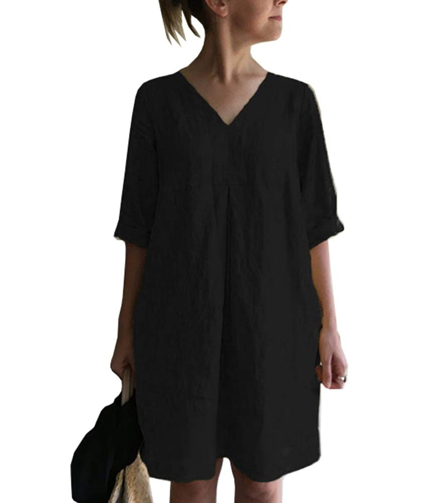 Cicy Bell Women's V Neck Cotton Tunic Tops Half Sleeve Summer Loose Casual Dresses with Pockets
