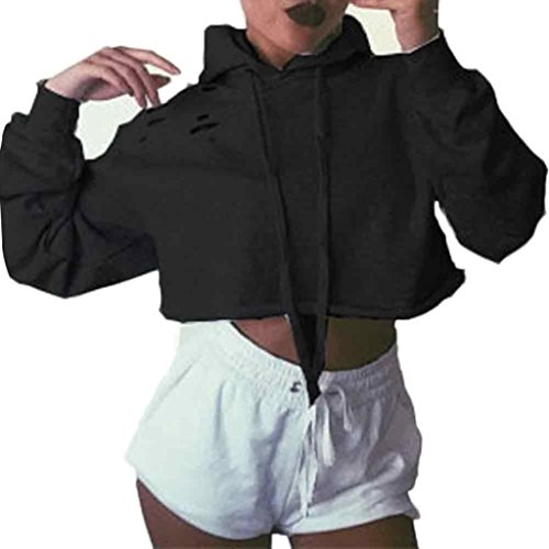 Lisingtool Women Hoodie Sweatshirt Jumper Sweater Crop Top Coat Sports Pullover Tops (XL, Black)