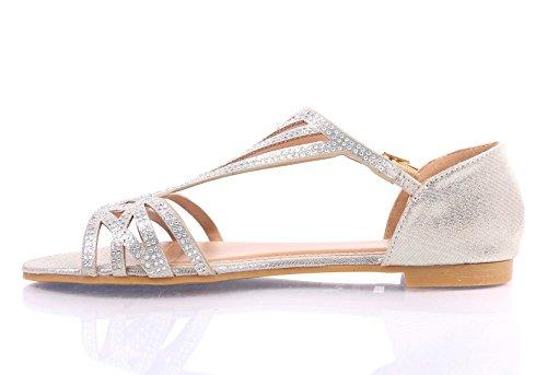 Mode Sexy Blink Gladiateur Cheville Sangle Côté Boucle Glisser Sur Sandales Sandales Femmes Chaussures Plates Neuves Sans Boîte Or