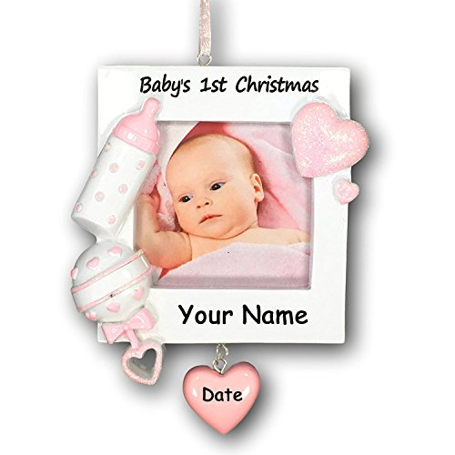 (Personalized Baby's First Christmas Ornament Girl Picture Frame - Free Personalization)