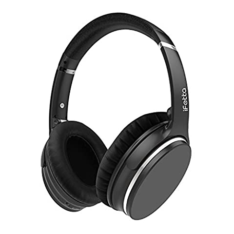 Active Noise Cancelling Headphones, Ifecco Bluetooth HiFi Over-ear Headsets with Mic and Volume Control Support 3.5mm Jack and Bluetooth Devices, Black with (Over Ear Headphones Blue Tooth)