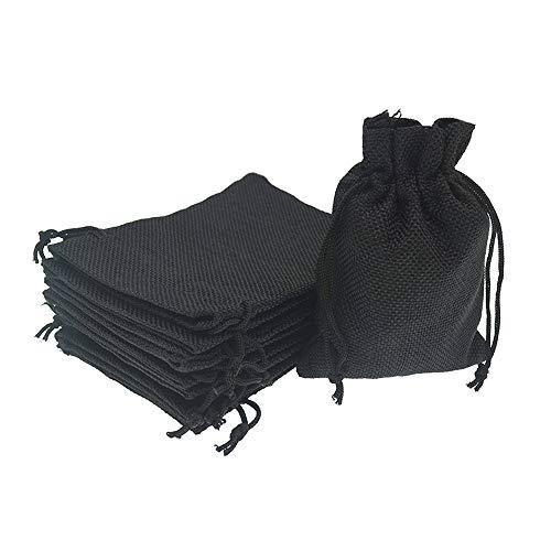 Bezall® 20pcs Drawstring Burlap Jute Sacks Jewelry Candy Pouch Christmas Wedding Party Favor Gift Bags (Black, 5 x 7