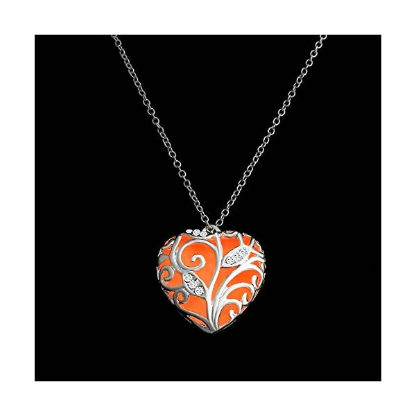 RINHOO Steampunk Magical Fairy Glow in The Dark Heart Charms Pendant Necklace White Gold Plated 5