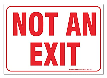 2 pack not an exit sign large 10 x 7 vinyl stickers