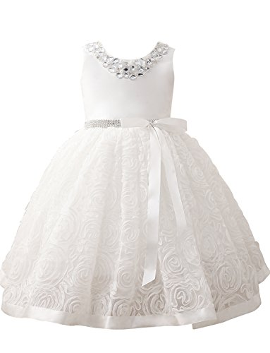 Castle Fairy Girls Beading Neck and Waist White Floral Dress Bow Sash Party Wedding Size 8 Knee - Floral Beading