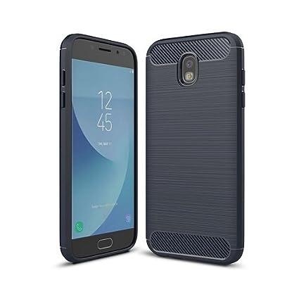 i-comercio Carbon Funda Samsung J7 2017 Carcasa J730 TPU Gel Silicona Rugged Carbon Case Carbono Samsung Galaxy J7 2017 (Marino/Azul)