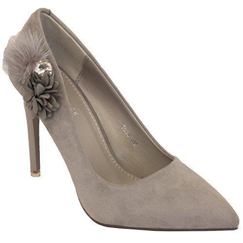 Pour Femmes Fleurs Daim Talon - Aiguille À Enfiler Bout Femmes Chaussures Bout Pointu Collier De Fleurs New Gris - 1699 5b2a1f4 - epictionpvp.space