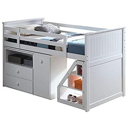 bb92b53679a4 Amazon.com  ACME Wyatt White Loft Bed with Chest and Swivel Desk  Kitchen    Dining