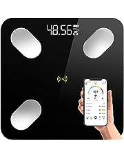 Retoo Digitale Bluetooth weegschaal met lichaamsanalyseweegschaal, gehard glas, personenweegschaal met app iOS en Android, slimme weegschaal voor spiermassa, lichaamsvet, BMI, water, skeletspieren, BMR, zwart