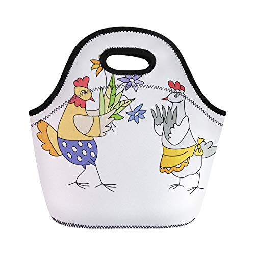 Semtomn Neoprene Lunch Tote Bag Animal Chicken Gets of Flowers Anniversary Birthday Bouquet Bright Reusable Cooler Bags Insulated Thermal Picnic Handbag for Travel,School,Outdoors, Work