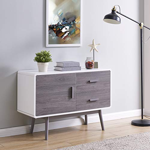 BELLEZE Contemporary Sideboard Buffet Table Cabinet with Wood Storage Console Table 2 Drawers & 1 Cabinet White