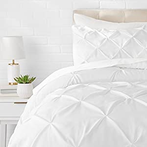 AmazonBasics Pinch Pleat Comforter Set - Twin, Bright White