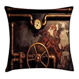 Ambesonne Industrial Throw Pillow Cushion Cover, Steam Pipes and Pressure Gauger Vintage Style Damaged Timeworn Engine, Decorative Square Accent Pillow Case, 20 X 20 Inches, Bronze Dark Orange
