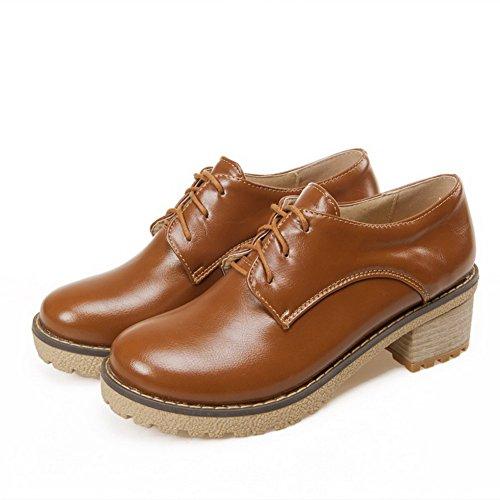Amoonyfashion Solido Morbido Materiale Gattino Tacchi Lace Up Tacco Chiuso Scarpe-scarpe Marrone