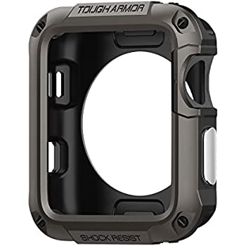Spigen Tough Armor Apple Watch Case with Extreme Heavy Duty Protection and Built In Screen Protector for 42mm Apple Watch Series 3 / Series 2 / 1 / Original (2015) - Gunmetal