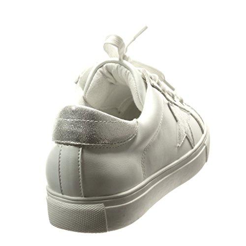 Angkorly - Chaussure Mode Baskets femme etoile brillant Talon plat 2.5 CM - Argent