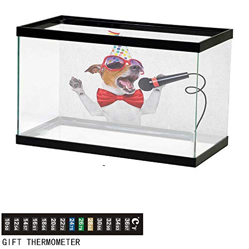 Jinguizi Popstar PartyFish Tank BackdropJack Russel Dog with Sunglasses Party Hat and Bowtie Singing Birthday Song36 L X 20