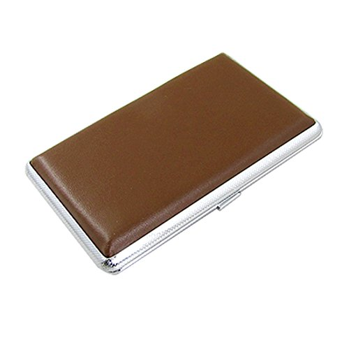 uxcell Classical Faux Leather Covered Box Case Holder for 10 Cigarettes Brown