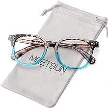 MEETSUN Blue Light Blocking Glasses for Women Men Nerd Eyeglasses Frame,Anti Eye Strain Computer Glasses for Reading/Gaming (Blue Floral, 0.0)