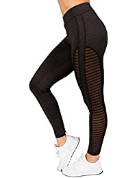 Mesh-Side Fitness Active Womens Elastic Waistband High Waist Workout Yoga Legging Pants by Rag