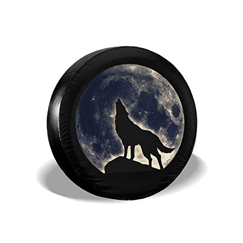 (Ding Wolf Moon Fantasy Spare Tire Cover Dust-Proof Waterproof Wheel Covers Sunscreen Corrosion Protection for Trailer RV SUV Truck Camper Travel (14