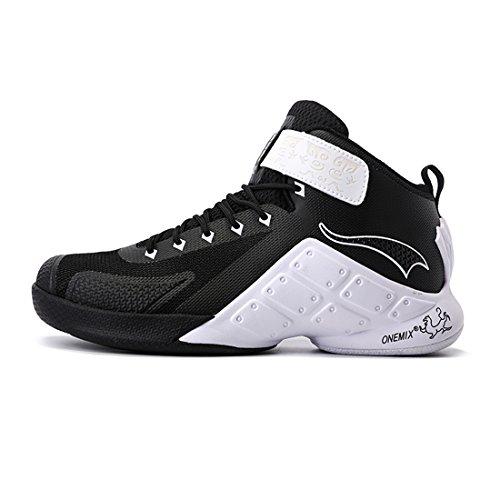 onemix Herren Mid Atmungsaktiv Anti-Rutsche Sportschuhe Basketballschuhe Sneaker Schwarz / Weiß