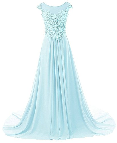 Prom Dresses Long Evening Gowns Lace Bridesmaid Dress Chiffon Prom Dress Cap Sleeve Sky Blue US22W -