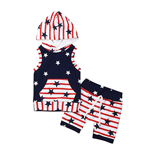 YOUNGER TREE 4th of July Toddler Baby Boy Clothes American Flag Stripe and Star Independence Day 2PCS Outfit (Black, 2-3 T)]()