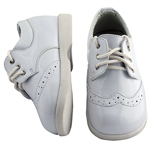 Boys White Designer Oxford Round Toe Tuxedo Shoe (Toddler 7)