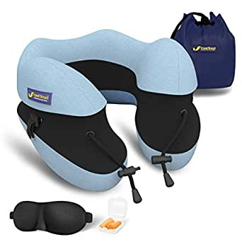 Travel Bread Adjustable Height Travel Neck Pillow, 100% Pure Memory Foam U-Shaped Travel Pillow for Airplane Travel, Ergonomic Design Full Neck Chin Support Airplane Pillow with Portable Bag (Blue)