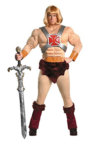 Disguise Men's Masters Of The Universe He-Man Classic Muscle Costume, Tan/Brown/Blonde, (He-man Halloween Costumes)