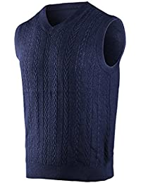 Men's Wool Blend Cable Knit V-Neck Pullover Sweater Vest