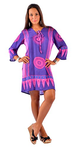 1 World Sarongs Mujeres Abstract Tiki Tunic Cover-Up in Pink/Purple Pink