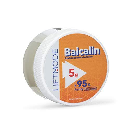 LiftMode Baicalin Powder Supplement - 95% Pure, Chinese Skullcap, Baical Skullcap Root Powder, Huang Qin Scutellaria, Barberry | Vegetarian, Vegan, Non-GMO, Gluten Free - 5 Grams (50 Servings)
